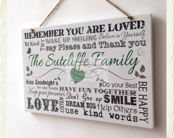 Personalised FAMILY Sign Wooden Rules Typography Plaque Memories Love Gift W119
