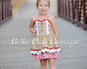 Girls Gingerbread Dress - Christmas Dress - Christmas Pageant Dress