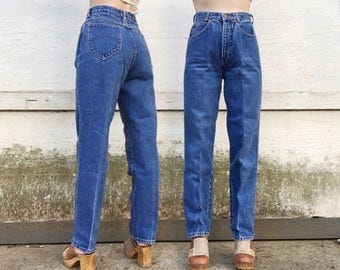 Vintage 80s Chic High Waisted Mid Blue Denim faded Tapered Grunge Mom Jeans 26 x 29.5