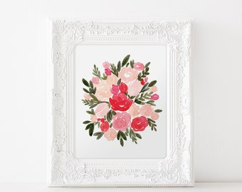 Valentine's Day Floral Watercolor Print
