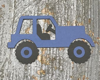 Jeep Handmade Cut Out Paper Scrapbook Embellishment Gift Package Tag