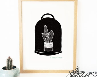 "Poster ""Cactus Cereus"" - wall decoration - black and white scandinavian"