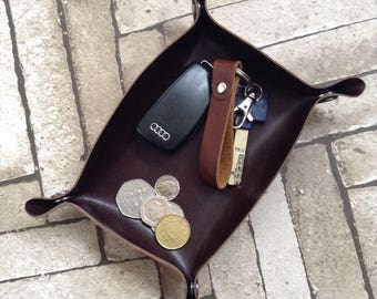 Personalized Leather Valet Tray Leather Catch all Leather Catchall Leather Travel Tray Coin Tray Husband Gift Mens Gift 3rd Anniversary Gift