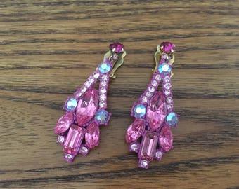 Juliana D&E Hot Pink Rhinestone and Enamel Dangle Earrings 1150