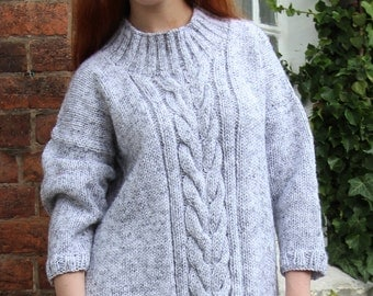 Grey Fleck Cable Sweater Size UK 10/12