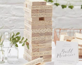 Build A Memory - Jenga Style Wedding Guest Book Alternative