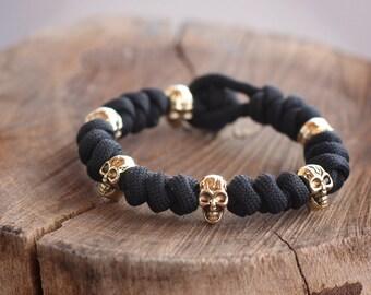 Браслет из паракорда с черепами Parachute cord bracelet with skulls