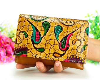 Leather wallet, small wallet, Woman wallets, credit card wallet, hand painted leather