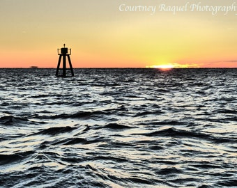 Ocean Buoy at Sunrise Print