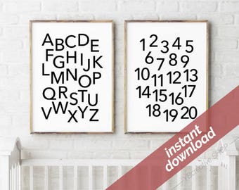 ABC 123 printable instant download > monochrome alphabet & numbers poster / nursery decor / playroom print