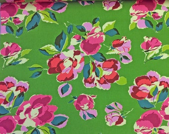 Bright Heart Natural Beauty Grass Floral Decorator Sateen Wide Amy Butler Cotton Fabric by Amy Butler from Free Spirit Fabrics