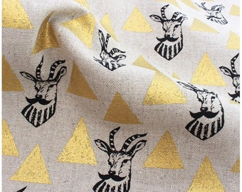 Impala Moustache Gold Triangle Echino Kokka Japan Deer Cotton Linen Canvas Fabric