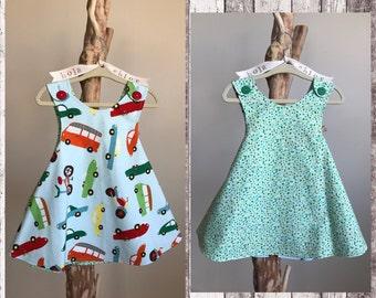 WHEELS dress- Retro reversible toddler pinafore- 12-24 months