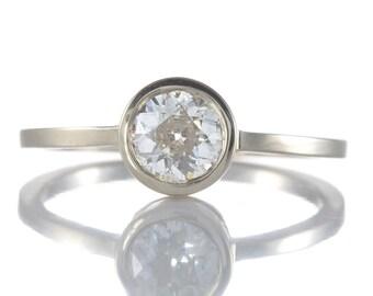 Diamond engagement ring   0.71 old European diamond   18 karat white gold   Handmade   stacking ring   reclaimed