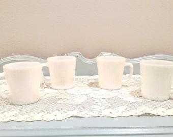 Qty. 4 Vintage Anchor Hocking Milk Glass Mugs