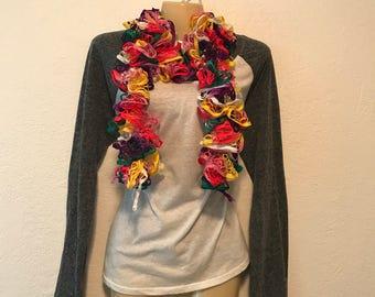 Neon rainbow ruffle scarf