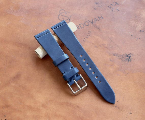 20/16mm Blue Tuscany Shell Cordovan watch band - simple middle stitch