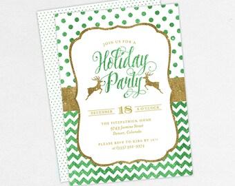Glitter Christmas Party Invitations, Fun Christmas Party Invitations, Holiday Party Invitations, Adult Christmas Party Invitations, Reindeer