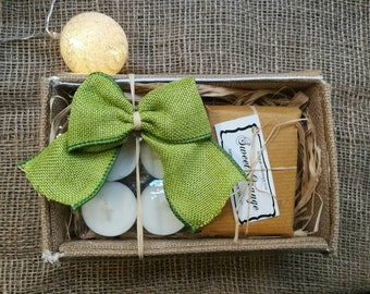 Natural Organic Soap and Eco Soy Tea Light Candles Gift set,  Vegan Soaps, Handmade Soap set, Soap and Candle Gift Box