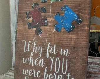 Autism Awareness Puzzle Wooden Sign