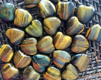 10 Tigers Eye Hearts infused with Reiki/ LOVE Healing Crystals and Stones