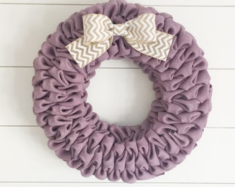 Lavender burlap bubble wreath with white chevron bow - Spring wreath - Easter wreath
