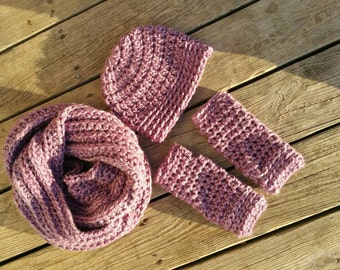 3 piece infinity scarf, hat, fingerless gloves gift set