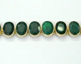 vintage sterling silver bracelet cuff emerald colour gemstone bracelet