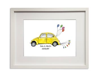 Personalized A4 Print - Just Married - Customizable Wedding Gift - Classic Volkswagen Beetle