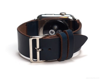 Apple Watch Leather Strap with Official Apple Adapters (42mm) in Navy Horween Chromexcel Strip Leather