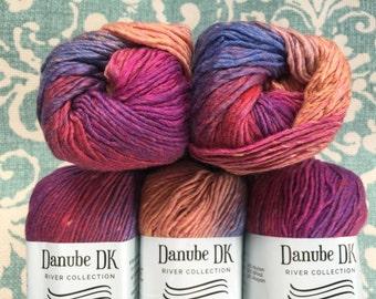 Danube DK 5.95 +1.25ea to Ship +8 Free Patterns - #310 Fruit Parfait - Nylon Rayon Blend Self Striping Yarn w Silky Sheen & Flecks MSRP 8.50