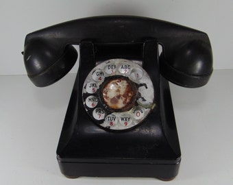 REDUCED - Vintage Black Distressed Rotary Dial Phone for Decorative Purposes, Shabby Chic Phone, 1940's
