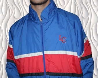 80s KEA - Medium to Large - Spray / Track Jacket With Zip away Hood