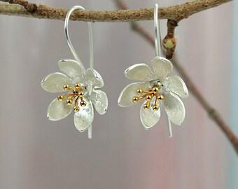 Water Lily Hook Earrings / Silver Flower Earrings / Drop Earrings / Earrings for Pierced Ears / Gold and Silver jewellery