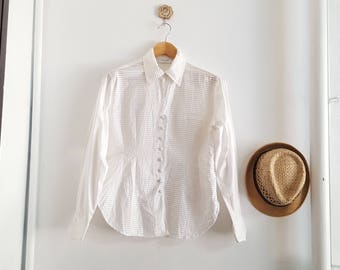 Vintage RAYURE Shirt,  White shirt, Made in France, 90's Vintage Rayuré Paris, pin-tuck shirt, long sleeve french cuffs