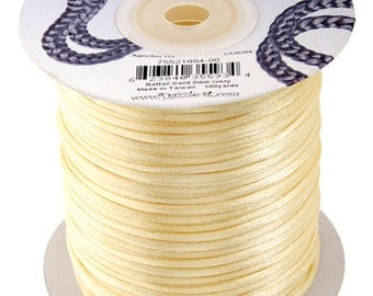 Ivory Satin 1.5 mm Rattail Cord - 100 yd - 300 Ft - Full Spool - Kumihimo Cording
