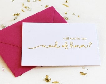 Gold Foil Maid of Honor Card, Will You Be My Maid of Honor Card, Choice of Wedding Attendant Card, Foil Stamped Card, Bridesmaid Card