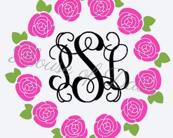 Circle of Roses Monogram Decal