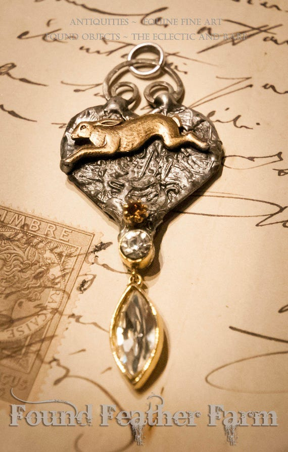 Handmade Original Heart Pendant with a Brass Hare and Vintage Jewels