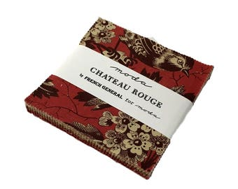 """Moda - 5"""" Squares """"Chateau Rouge"""" by French General -- 42 -5 inch squares. Charm Pack, french general Fabrics, floral fabric,"""