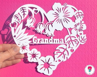 Grandma flower paper cut svg / dxf / eps / files and pdf / png printable templates for hand cutting. Digital download. Commercial use ok.