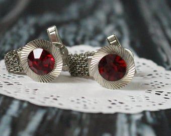 Vintage cufflinks with red stone Soviet cufflinks Red crystal Silver cufflinks Red cuff links Russian cufflinks Retro cufflinks Gift for dad