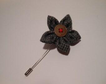 Grey Tweed Flower Lapel Pin