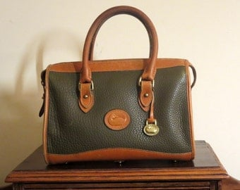 Vintage Dooney & Bourke Satchel In Green And Tan Pebbled All Weather Leather With Big Duck and Brass  Logo - VGC Made in United States