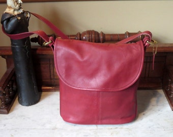 Coach Whitney Bag In Red Leather With Brass Hardware- Made In U.S.A.- Very Good to Excellent Used Condition
