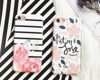 Flower Case Rose Pink flower stripe iPhone 7 case iPhone 7 Plus case iphone 6 case iphone 6 plus case iphone 6s case IMD