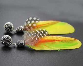 Feather Earrings - Long Feather Earring - Natural Feather Jewelry - Long Earrings Charms Womens Boho Earrings Pave Rhinestone