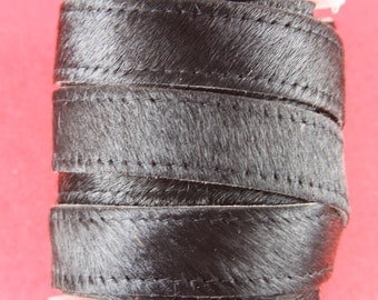 """MADE in EUROPE 8"""" pony hair leather cord, 20mm black pony hair leather cord, hair on 20mm leather cord, 20mm hair on leather cord"""