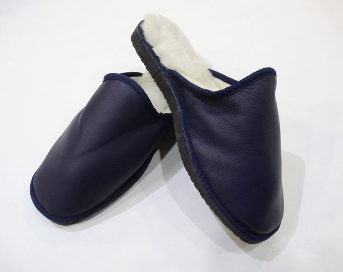 Navy Blue Slippers,Men Fur Slippers,Warm Slippers F446
