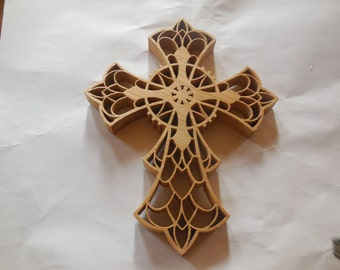 wooden wall cross, ornate wall cross handcrafted from ash wood.